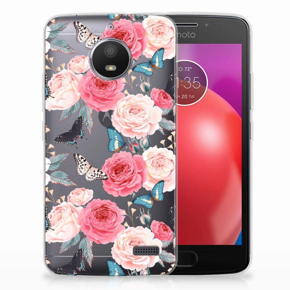 Motorola Moto E4 Uniek TPU Hoesje Butterfly Roses