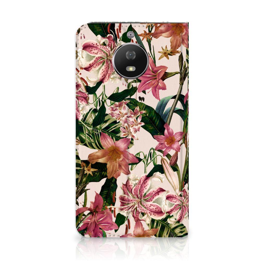Motorola Moto G5S Uniek Standcase Hoesje Flowers