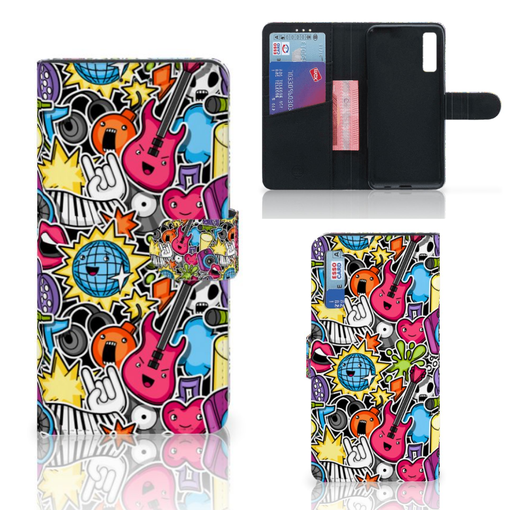 Samsung Galaxy A7 (2018) Wallet Case met Pasjes Punk Rock