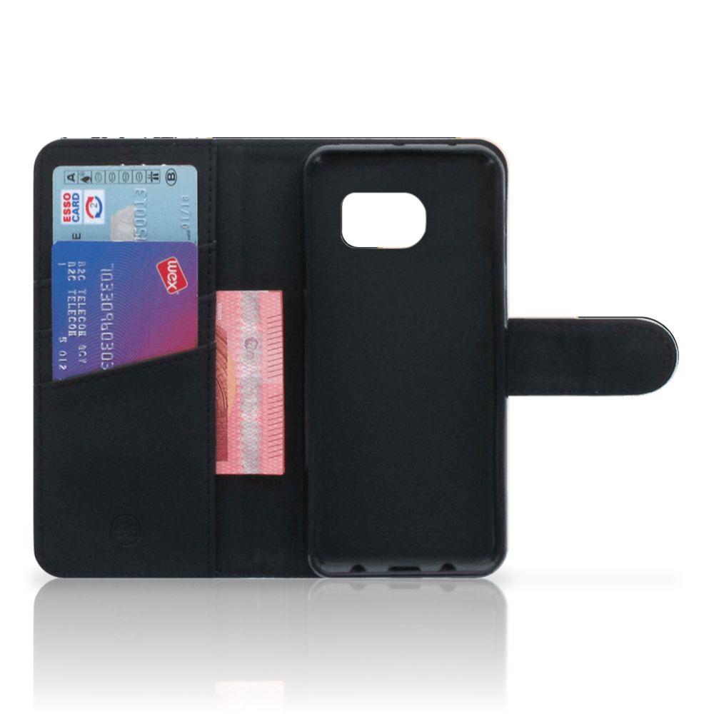 Samsung Galaxy S6 Edge Bookcase Zwart Roze Vormen