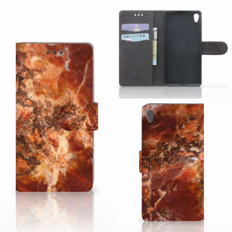 Sony Xperia E5 Bookcase Marmer Bruin