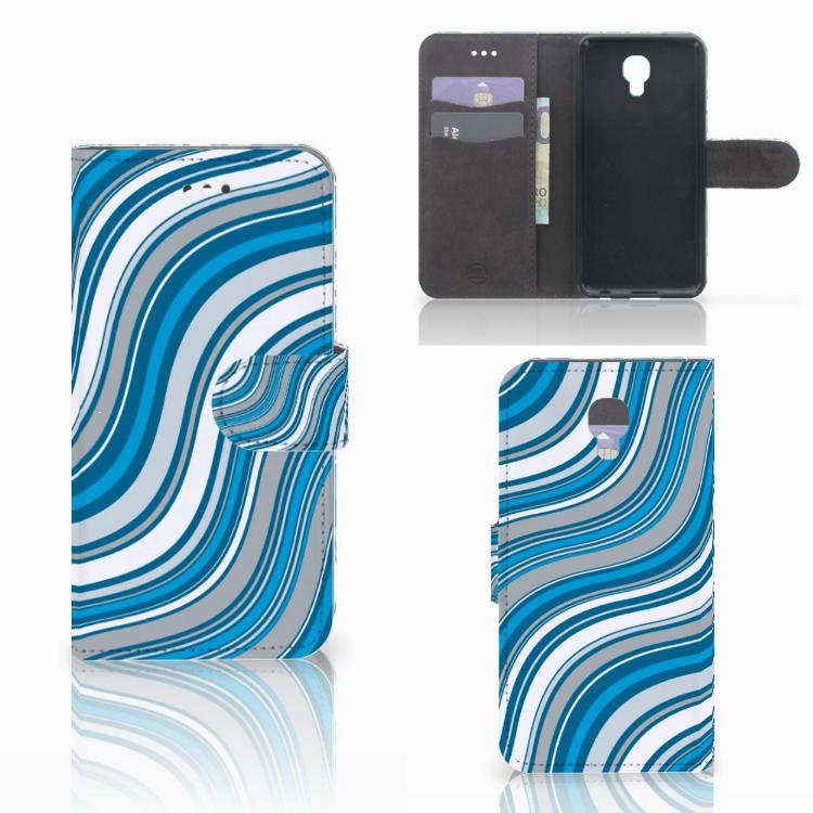 LG X Screen Telefoon Hoesje Waves Blue