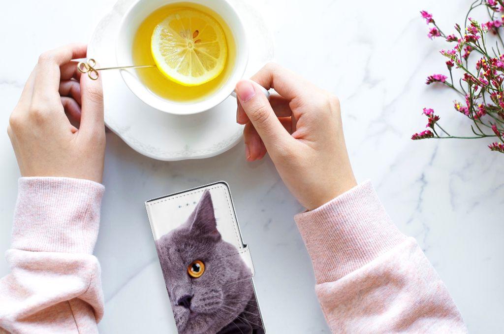 LG Nexus 5X Telefoonhoesje met Pasjes Kat