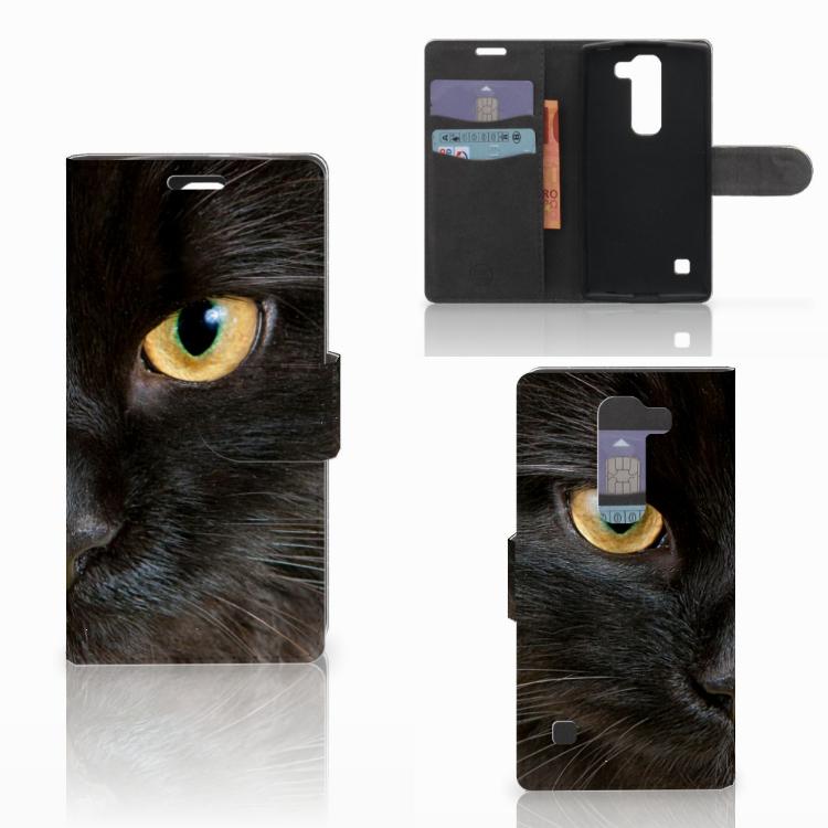 LG Spirit Telefoonhoesje met Pasjes Zwarte Kat