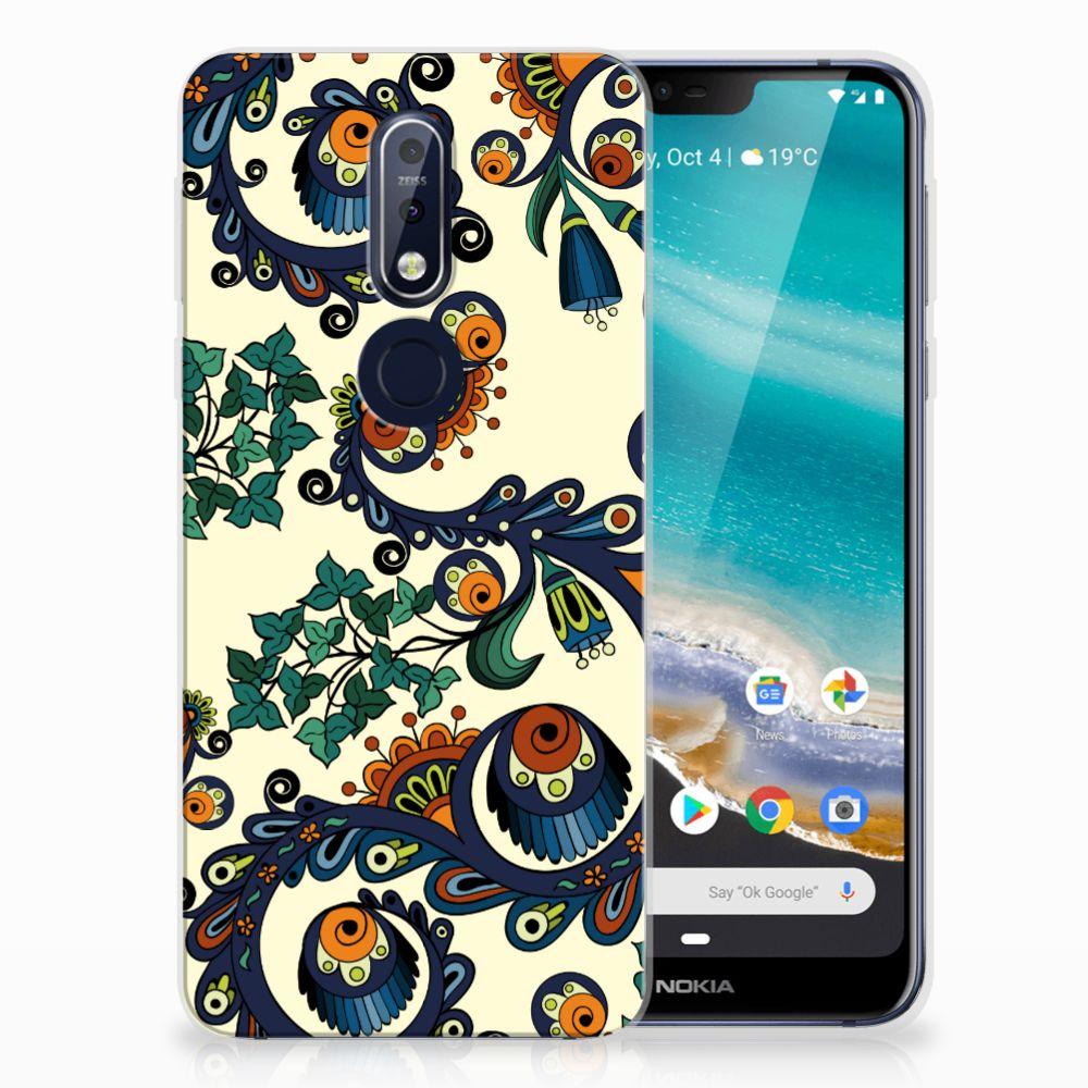 Siliconen Hoesje Nokia 7.1 Barok Flower