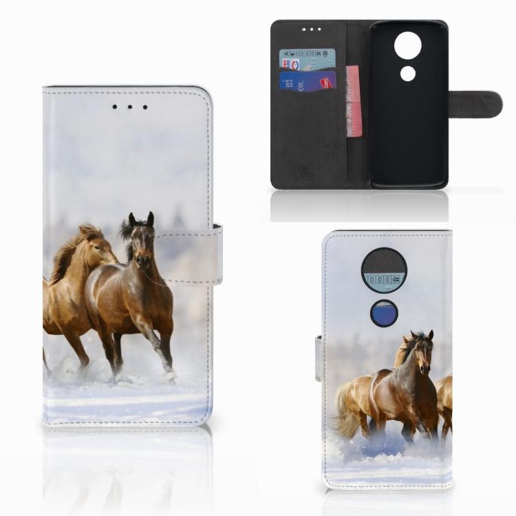 Motorola Moto E5 Plus Telefoonhoesje met Pasjes Paarden