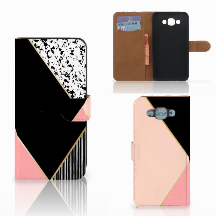Samsung Galaxy E7 Bookcase Zwart Roze Vormen