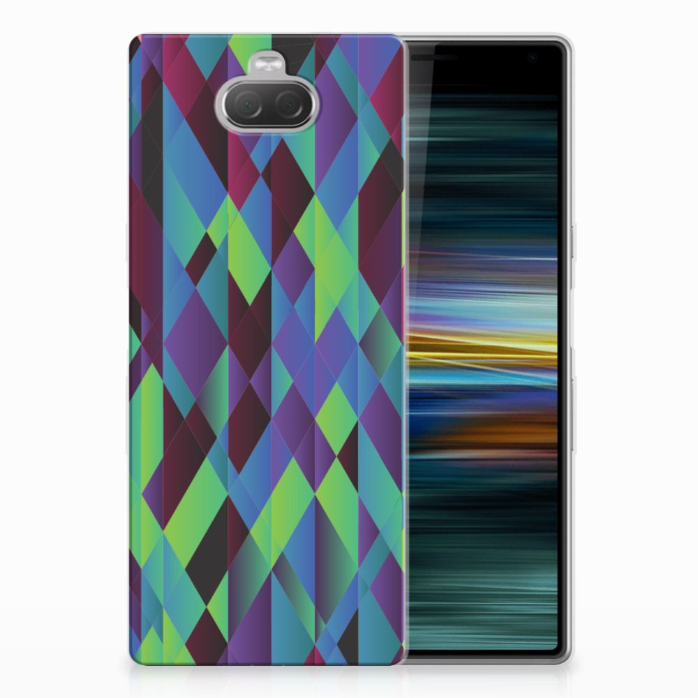 Sony Xperia 10 Plus TPU Hoesje Abstract Green Blue