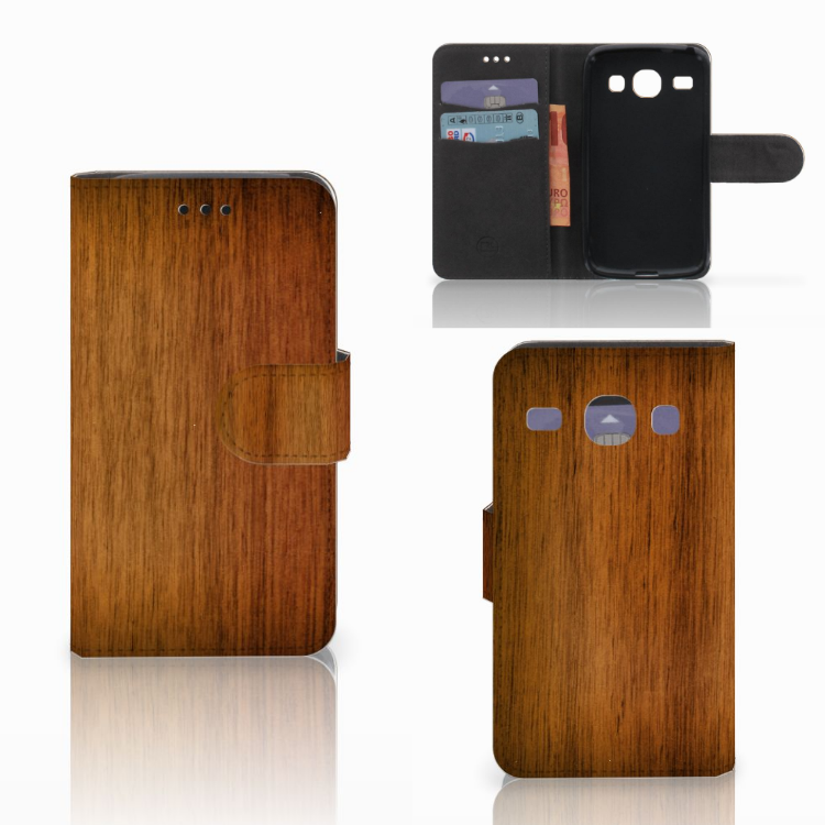 Samsung Galaxy Core i8260 Book Style Case Donker Hout