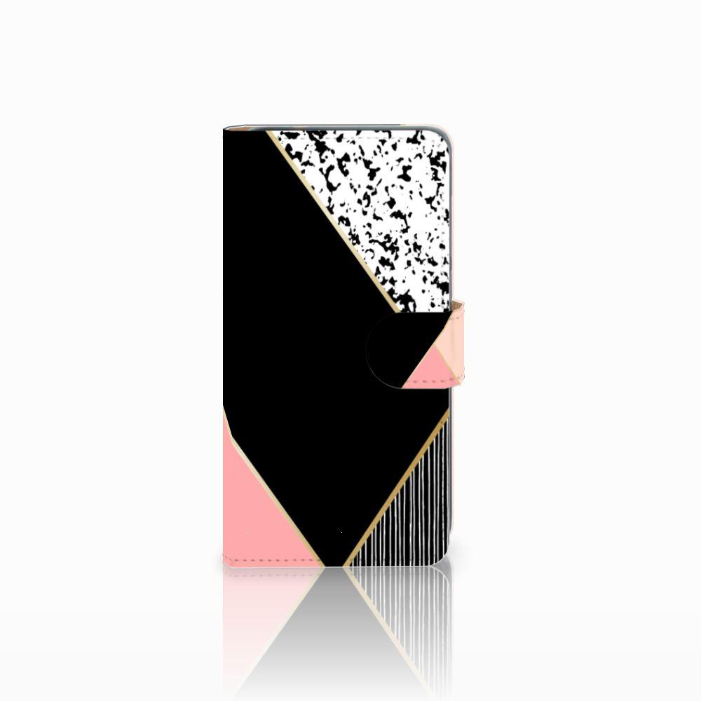 Huawei P8 Lite 2017 Uniek Boekhoesje Black Pink Shapes