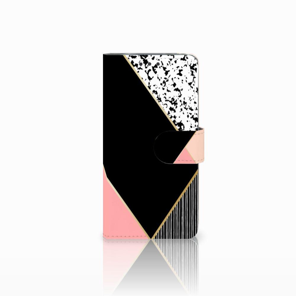 LG G5 Uniek Boekhoesje Black Pink Shapes