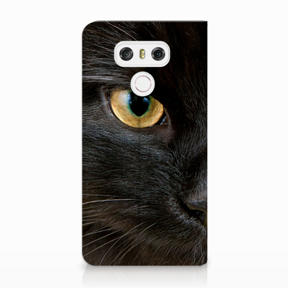 LG G6 Uniek Standcase Hoesje Zwarte Kat