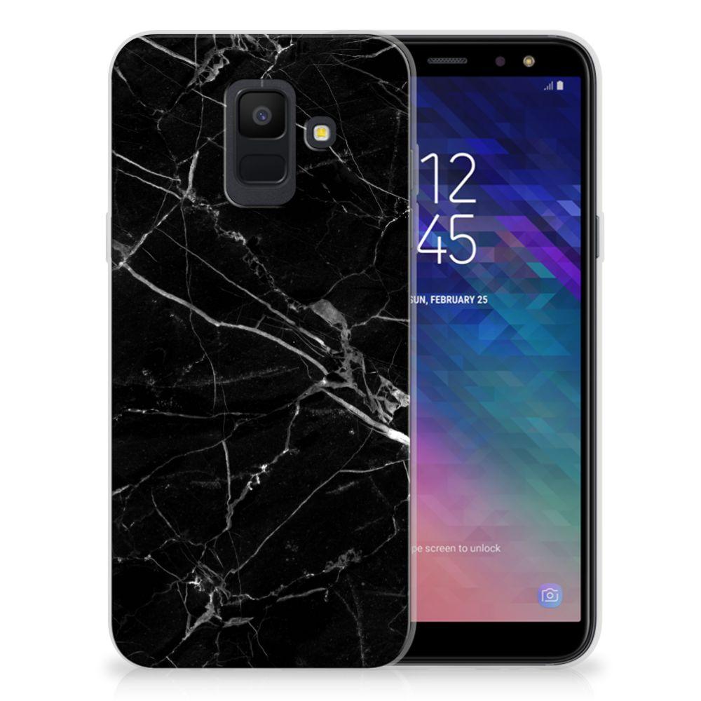 Samsung Galaxy A6 (2018) TPU Siliconen Hoesje Marmer Zwart