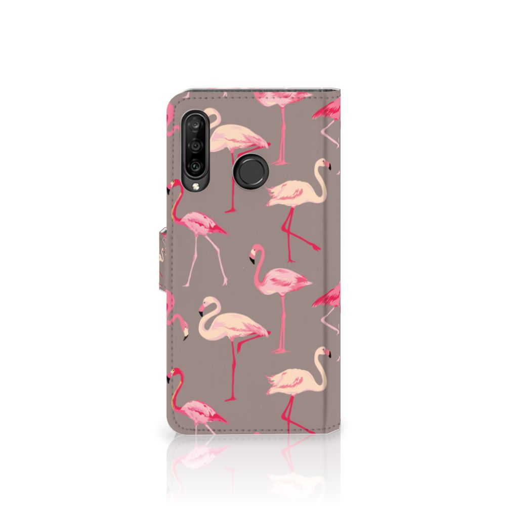 Huawei P30 Lite (2020) Telefoonhoesje met Pasjes Flamingo