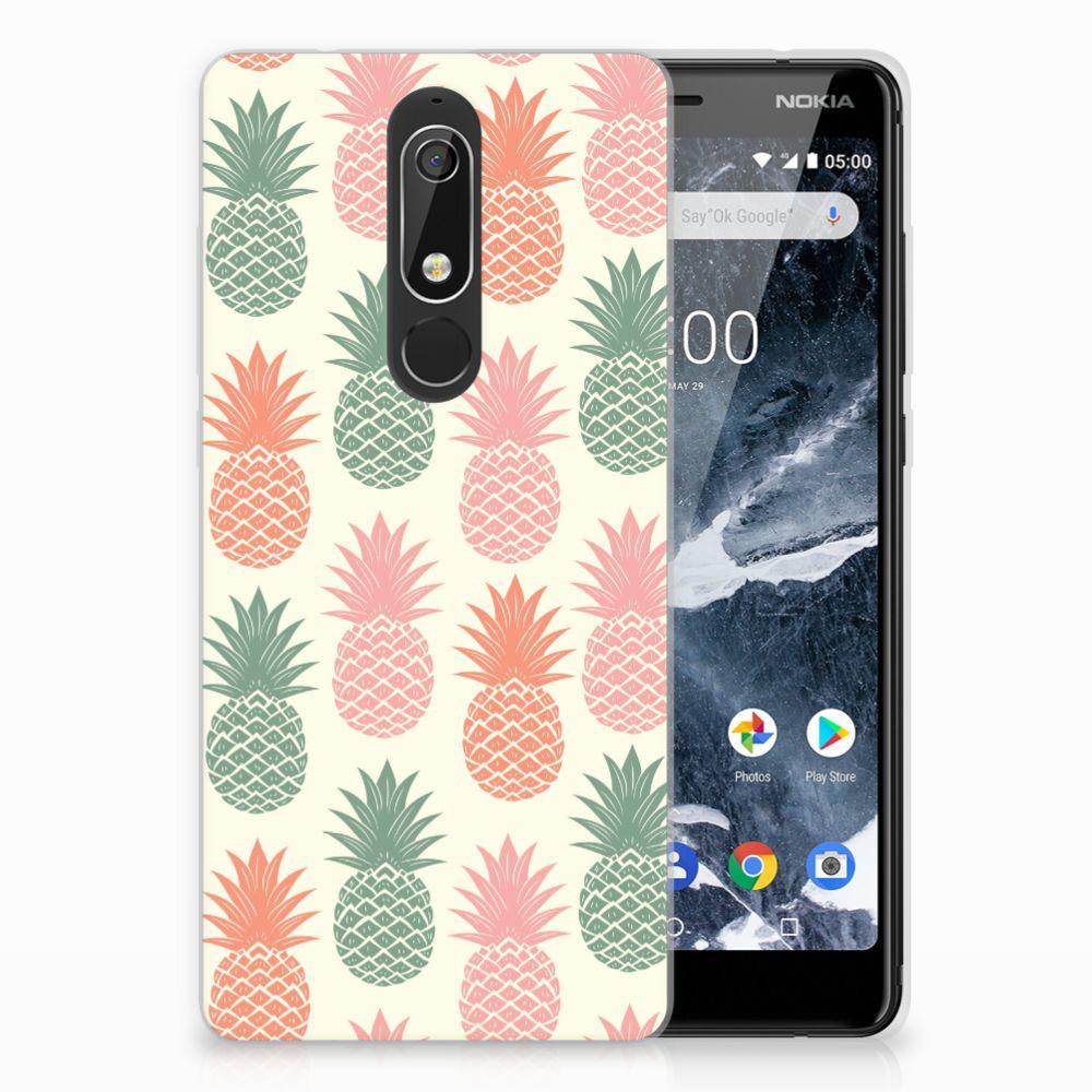Nokia 5.1 (2018) TPU Hoesje Design Ananas