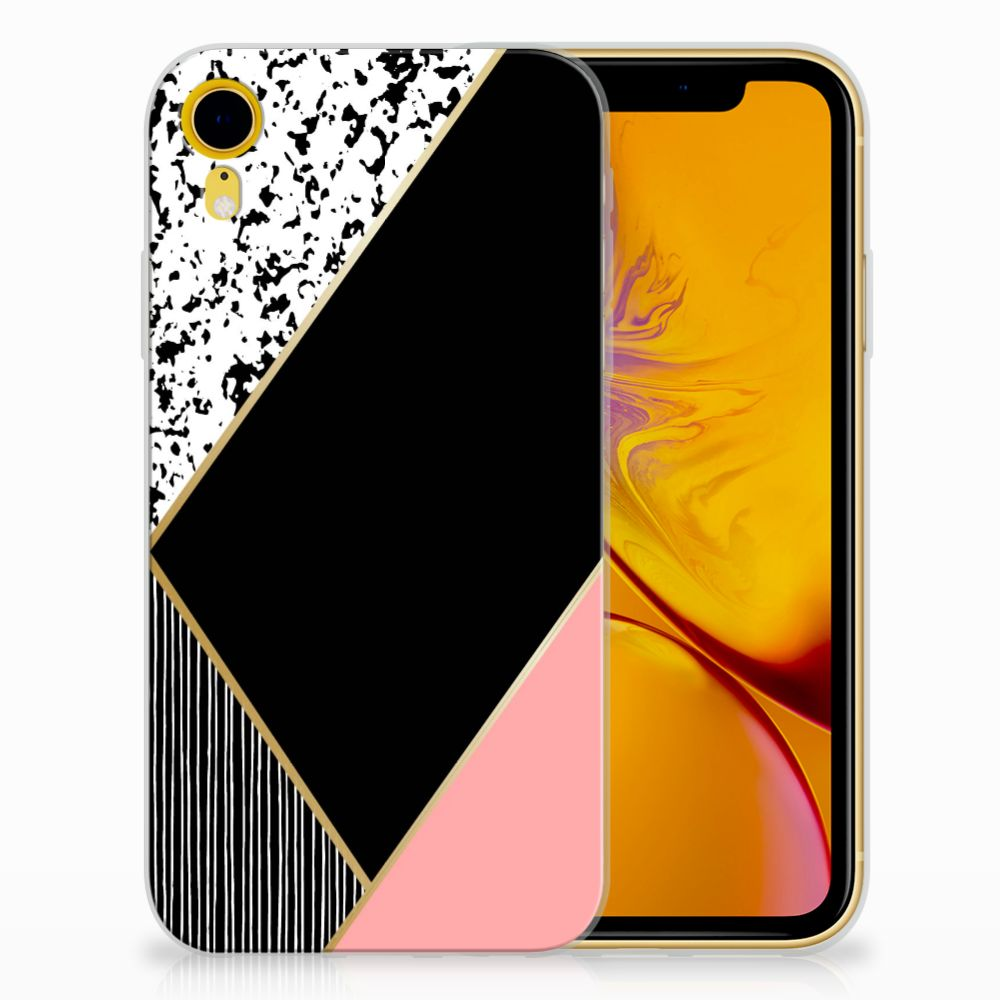 Apple iPhone Xr Uniek TPU Hoesje Black Pink Shapes