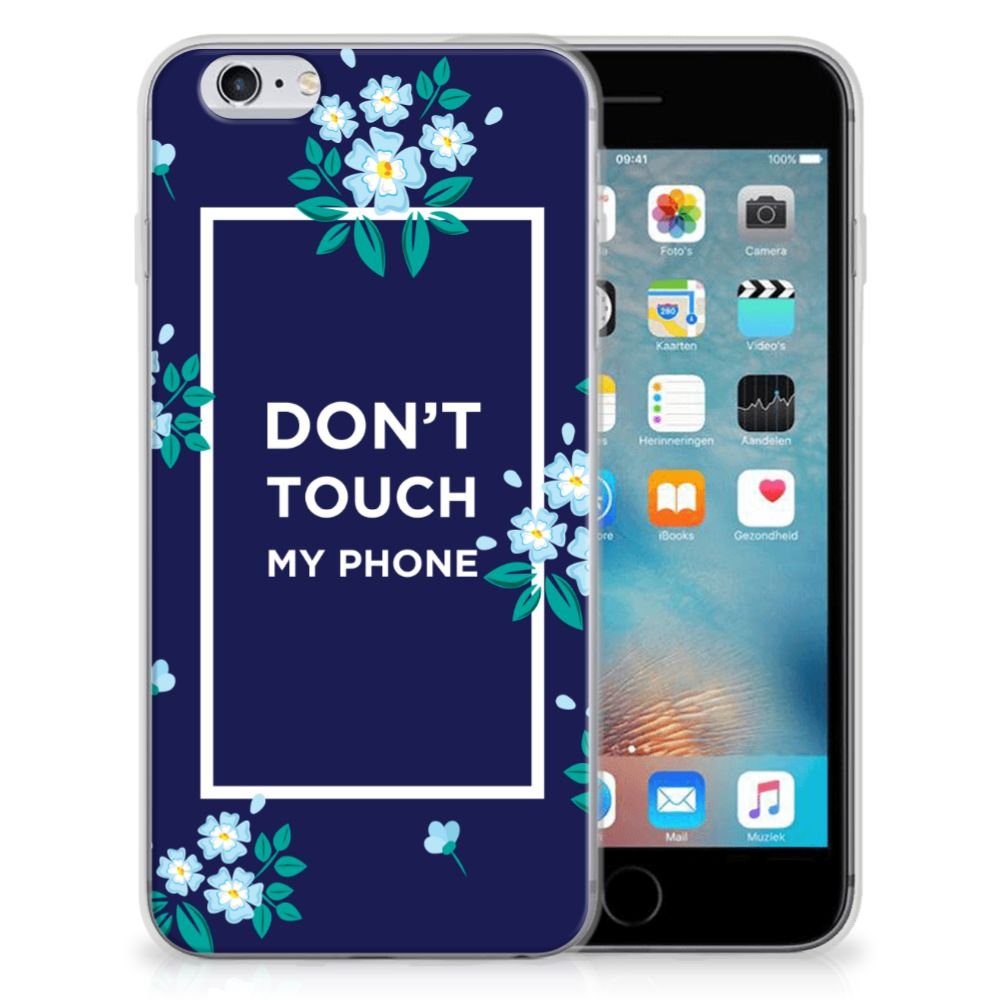 Apple iPhone 6 | 6s Silicone-hoesje Flowers Blue DTMP