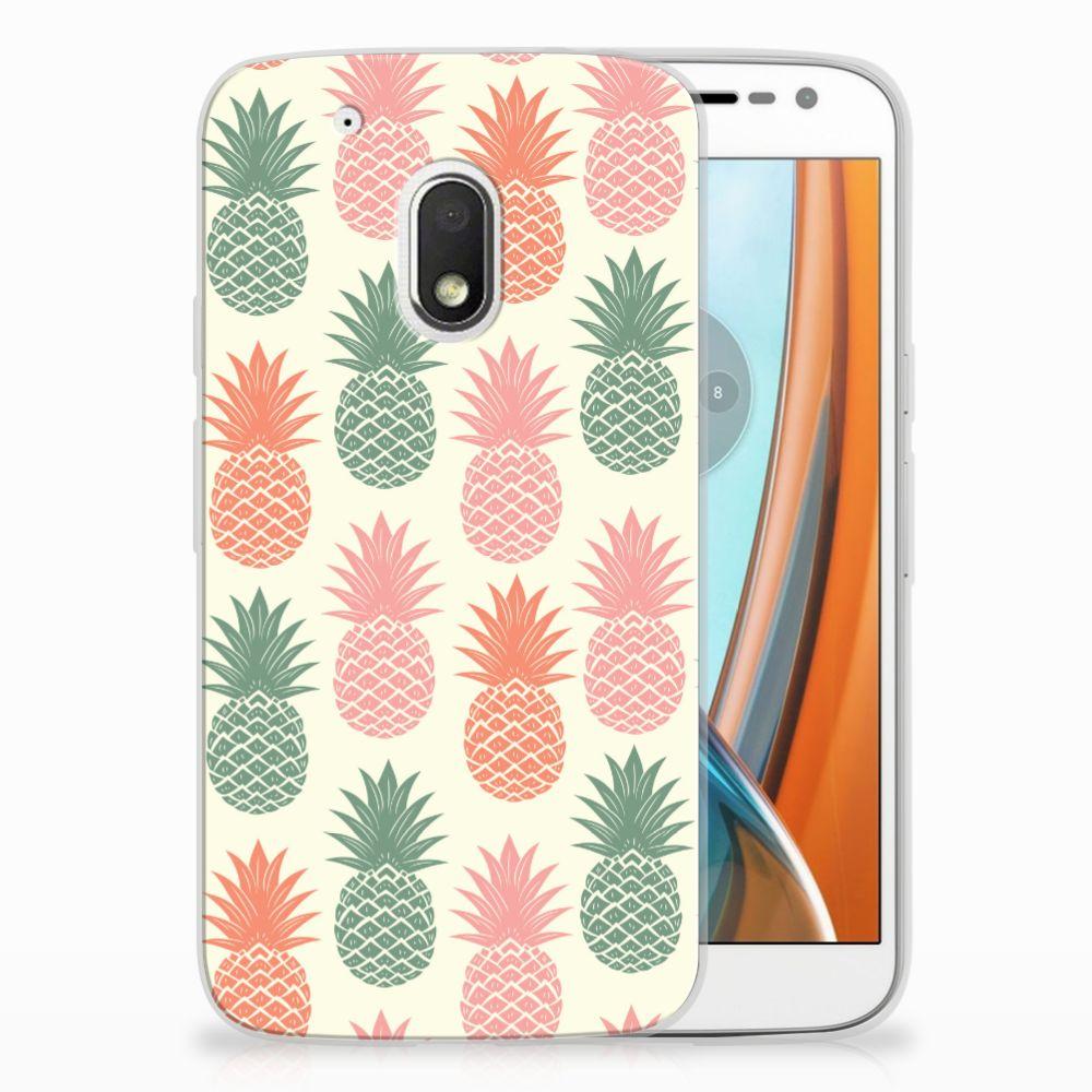 Motorola Moto G4 Play Siliconen Case Ananas