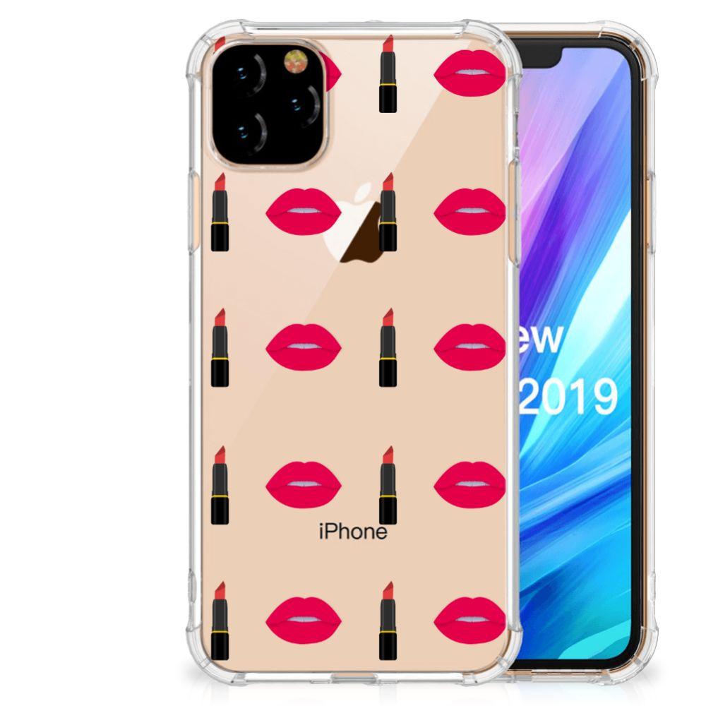 Apple iPhone 11 Pro Max Doorzichtige Silicone Hoesje Lipstick Kiss