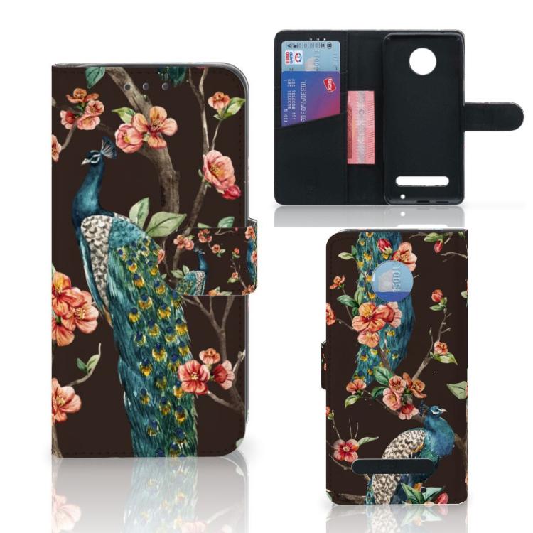 Motorola Moto Z2 Play Telefoonhoesje met Pasjes Pauw met Bloemen