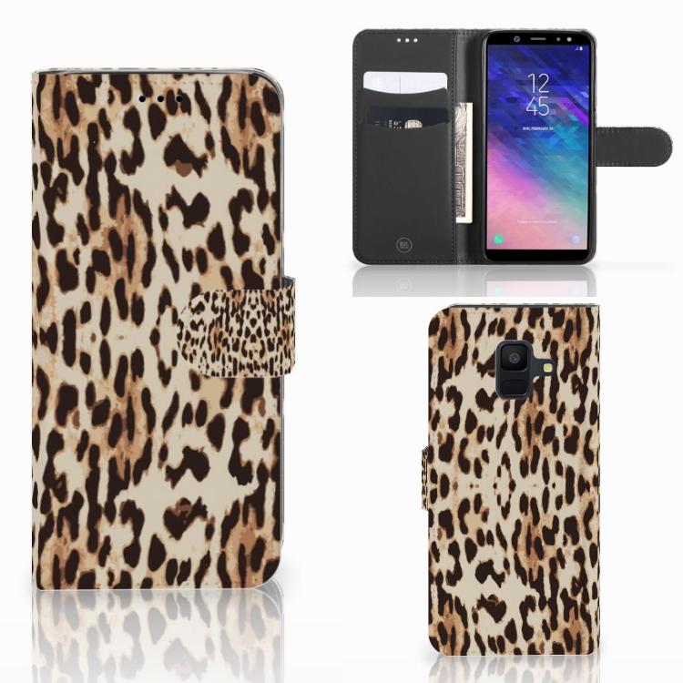 Samsung Galaxy A6 2018 Telefoonhoesje met Pasjes Leopard
