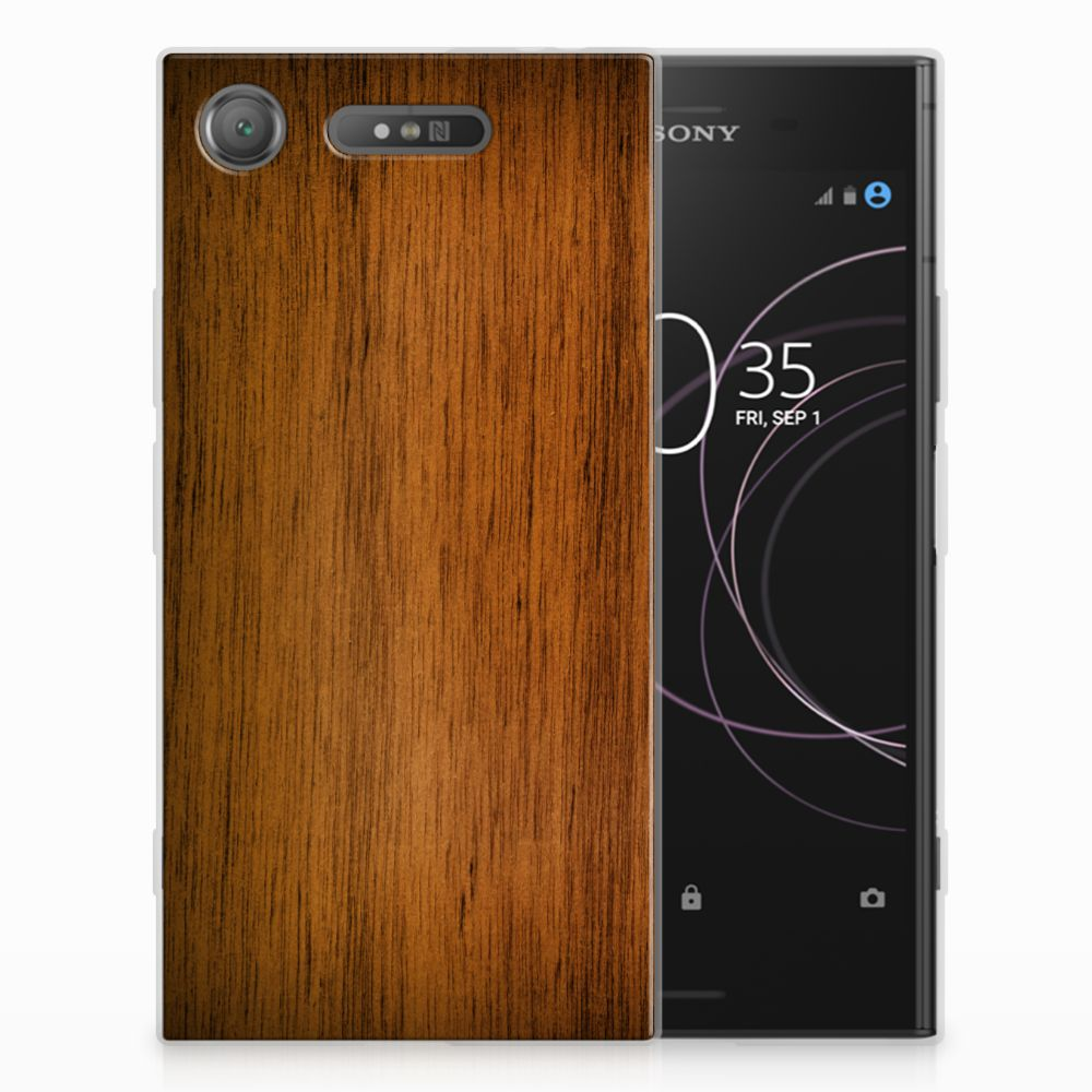 Sony Xperia XZ1 Uniek TPU Hoesje Donker Hout