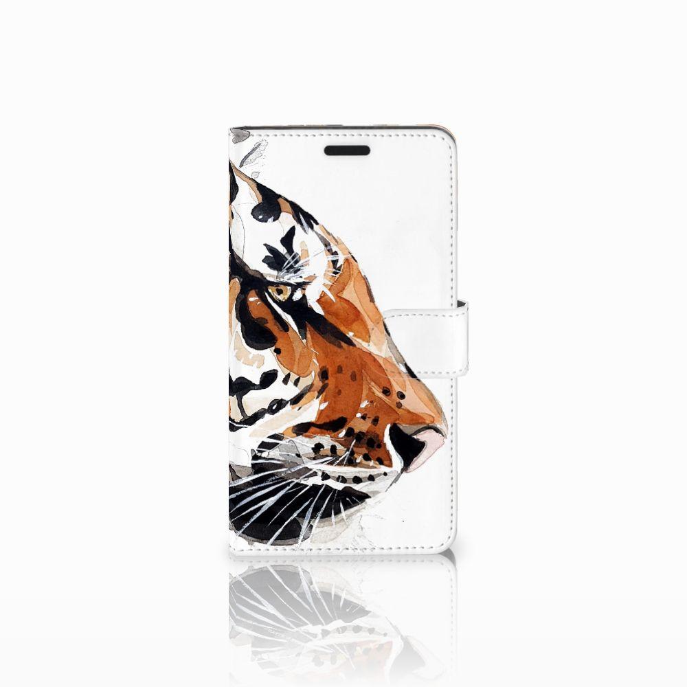 Sony Xperia T3 Uniek Boekhoesje Watercolor Tiger