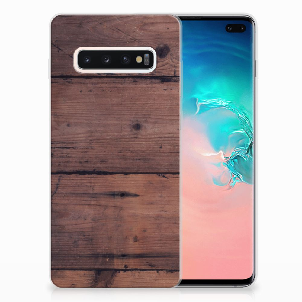 Samsung Galaxy S10 Plus Bumper Hoesje Old Wood