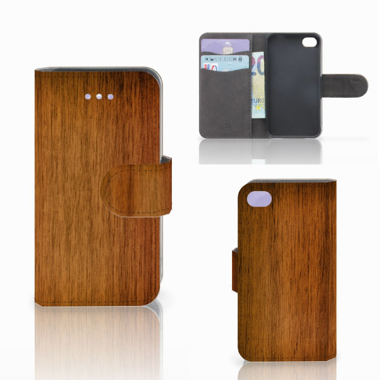 Apple iPhone 4   4S Book Style Case Donker Hout
