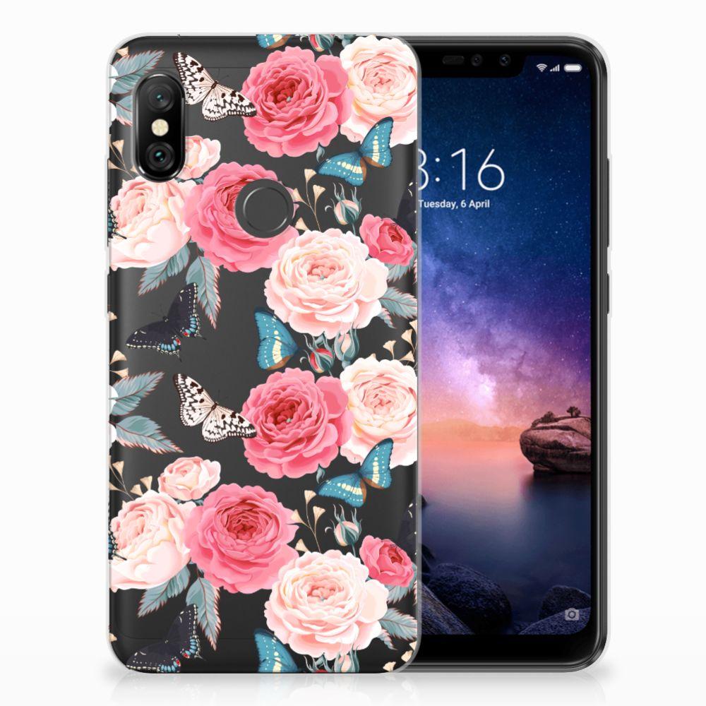 Xiaomi Redmi Note 6 Pro Uniek TPU Hoesje Butterfly Roses