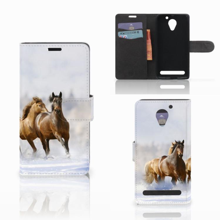 Lenovo C2 Power Telefoonhoesje met Pasjes Paarden