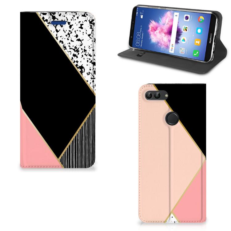 Huawei P Smart Stand Case Zwart Roze Vormen