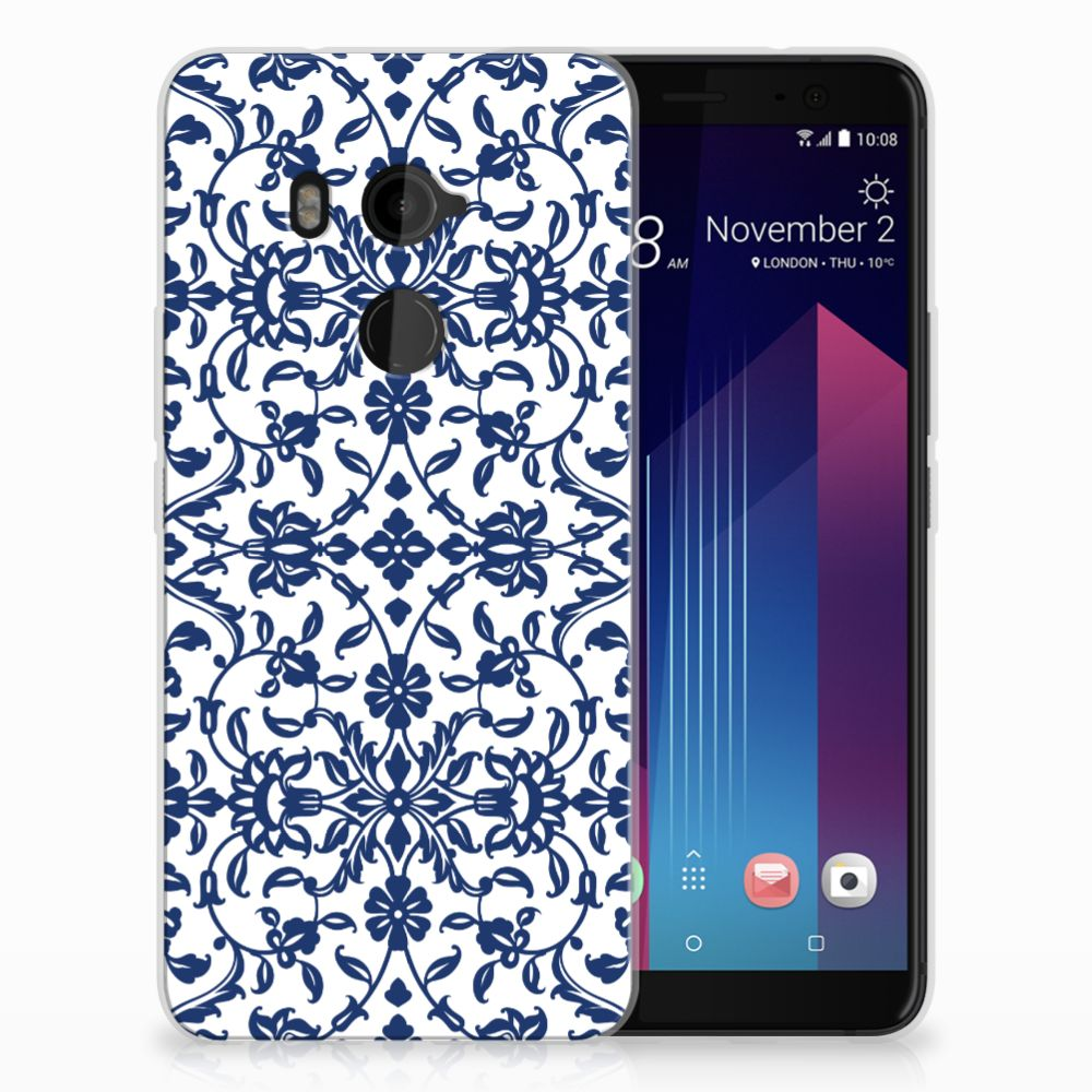 HTC U11 Plus Uniek TPU Hoesje Flower Blue