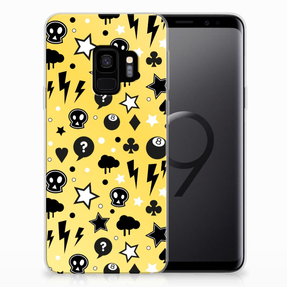 Silicone Back Case Samsung Galaxy S9 Punk Geel