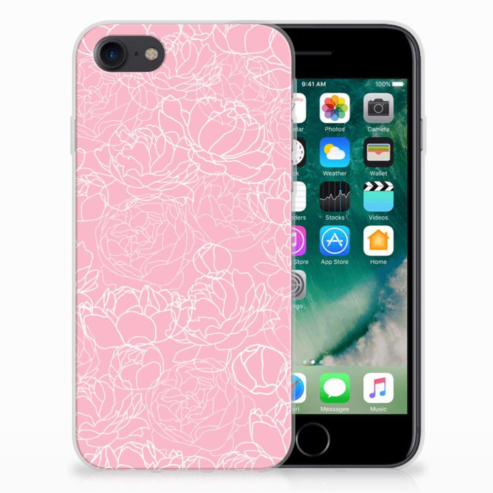 Apple iPhone 7 | 8 Siliconen Hoesje White Flowers