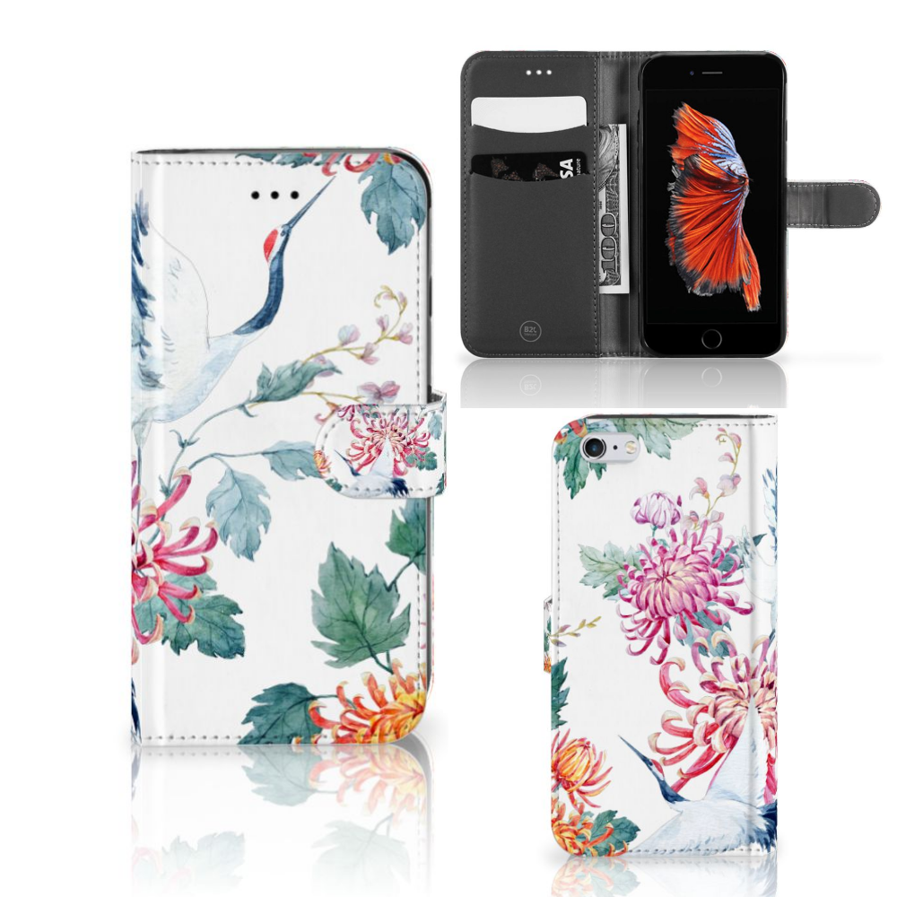 Apple iPhone 6 Plus | 6s Plus Telefoonhoesje met Pasjes Bird Flowers
