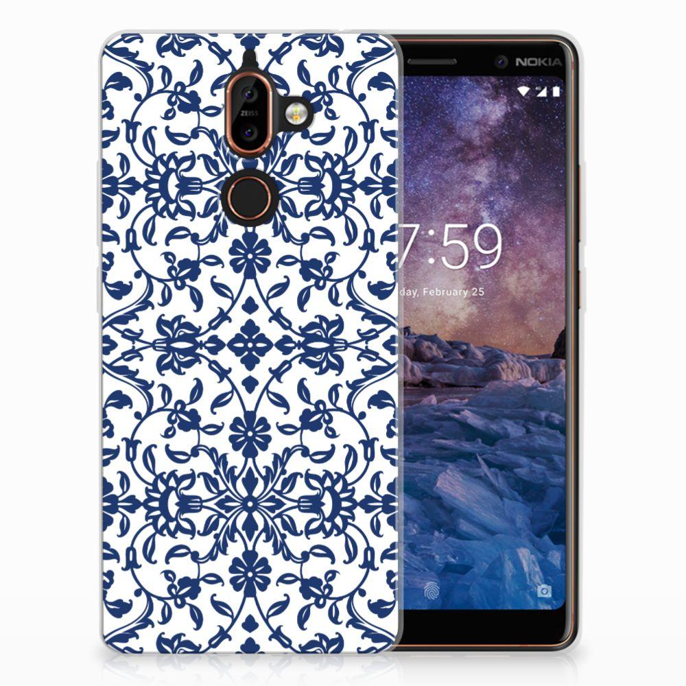 Nokia 7 Plus TPU Hoesje Flower Blue