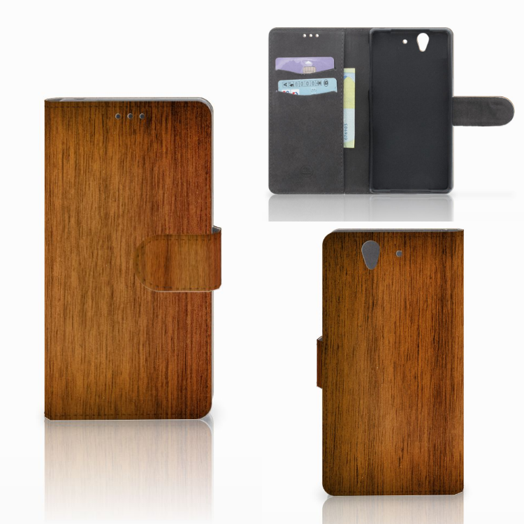 Sony Xperia Z Book Style Case Donker Hout
