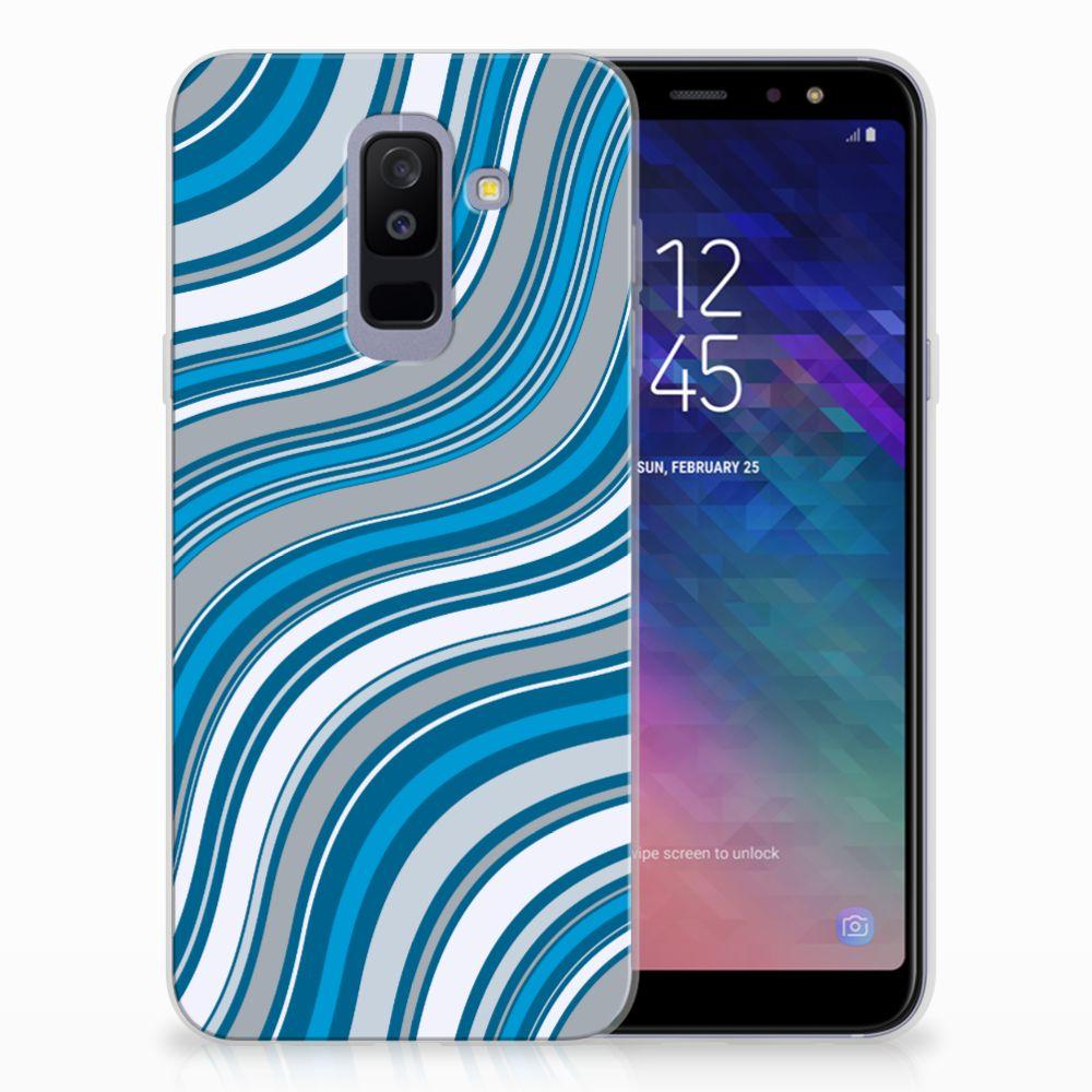 Samsung Galaxy A6 Plus (2018) TPU Hoesje Design Waves Blue