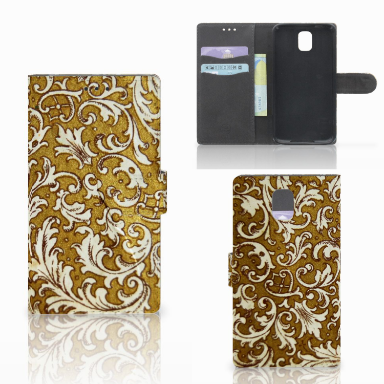 Wallet Case Samsung Galaxy Note 3 Barok Goud