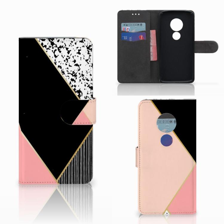 Motorola Moto E5 Bookcase Zwart Roze Vormen