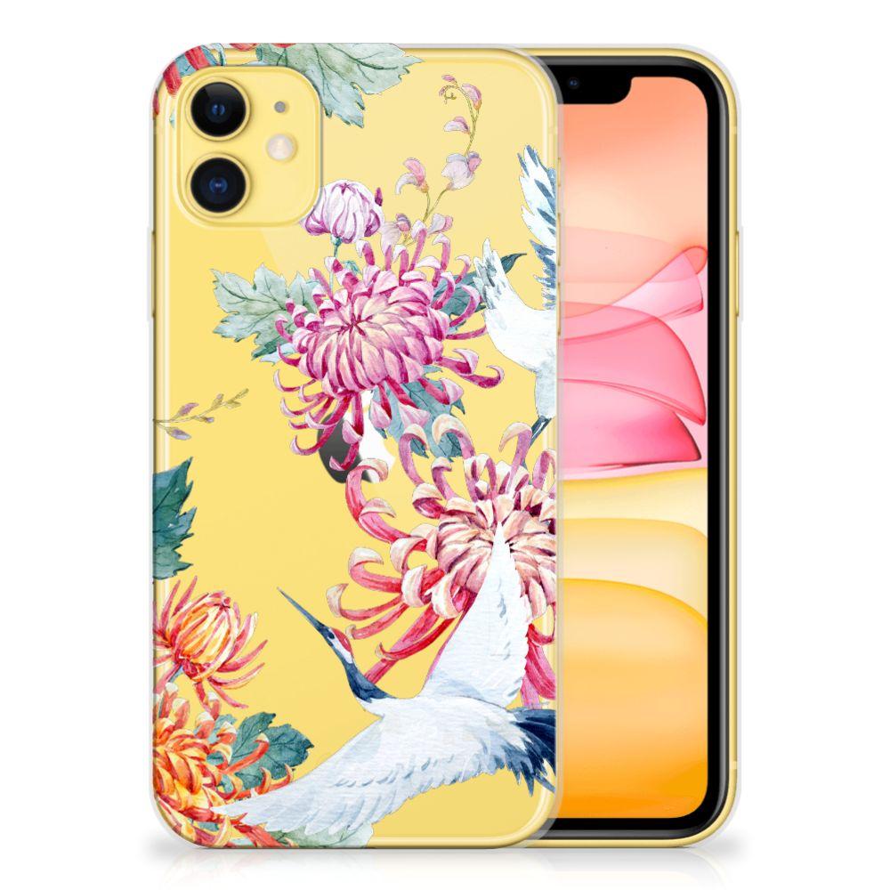 Apple iPhone 11 TPU Hoesje Bird Flowers