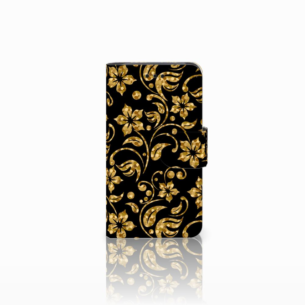 Samsung Galaxy Core i8260 Boekhoesje Design Gouden Bloemen