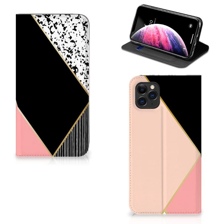 Apple iPhone 11 Pro Max Stand Case Zwart Roze Vormen