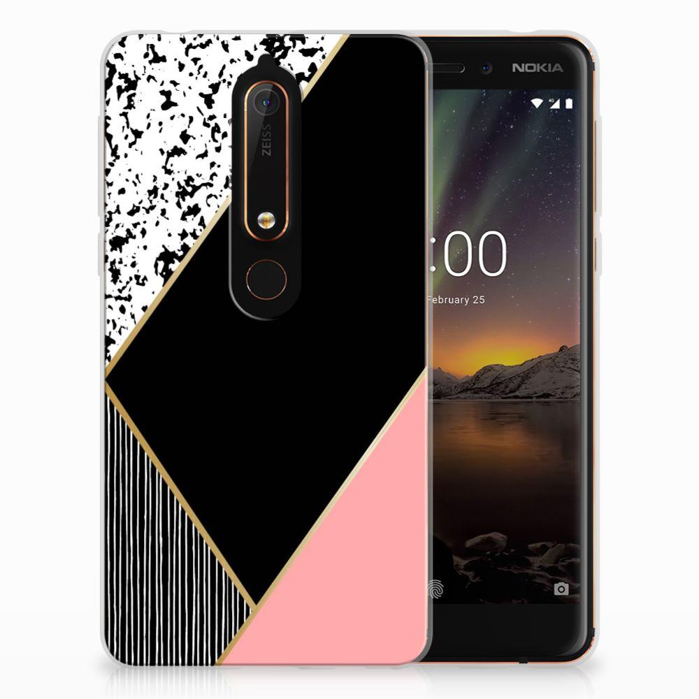 Nokia 6 (2018) Uniek Design TPU Hoesje Black Pink Shapes