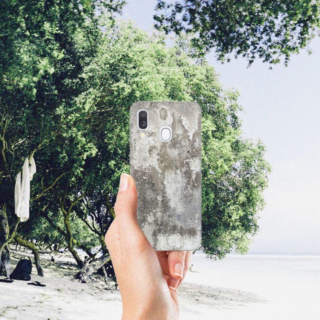 Samsung Galaxy A40 TPU Siliconen Hoesje Beton Print