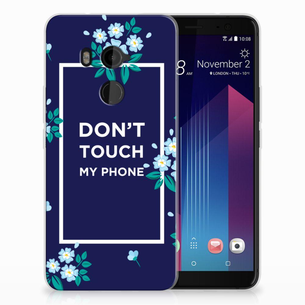 HTC U11 Plus TPU Hoesje Flowers Blue DTMP