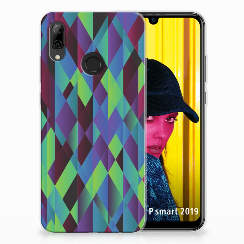 Huawei P Smart 2019 TPU Hoesje Abstract Green Blue