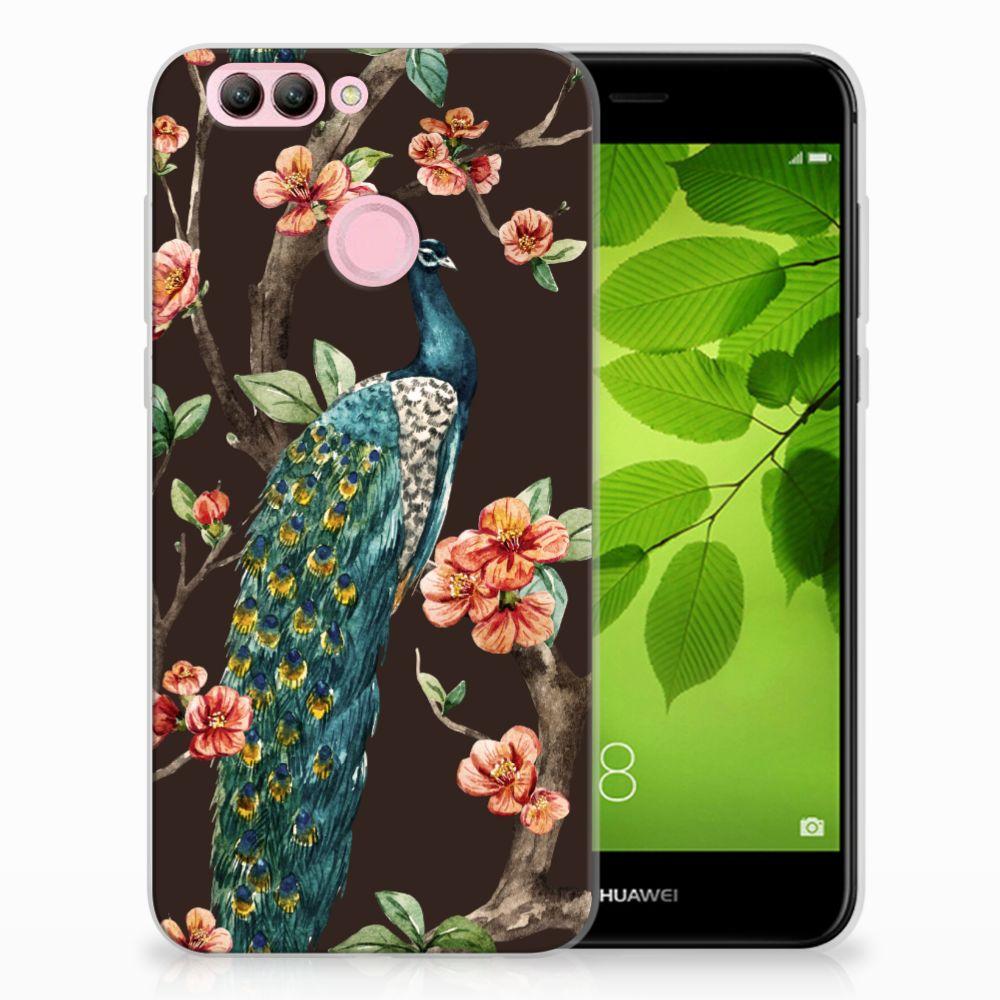 Huawei Nova 2 TPU Hoesje Design Pauw met Bloemen