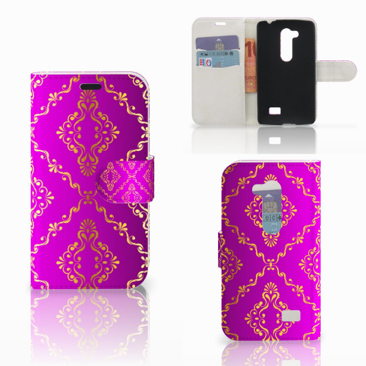 Wallet Case LG L Fino Barok Roze
